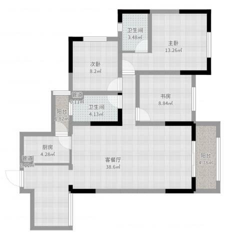 城南未来二期3室2厅2卫1厨110.00㎡户型图