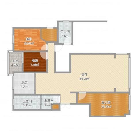 金海湾小区四室2室1厅3卫1厨147.00㎡户型图