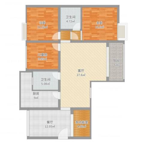 湄潭金华世家3室2厅2卫1厨130.00㎡户型图