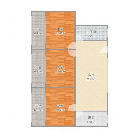 南天公寓3室1厅1卫1厨128.00㎡户型图