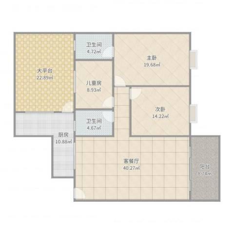 丽园盛景3室2厅2卫1厨169.00㎡户型图