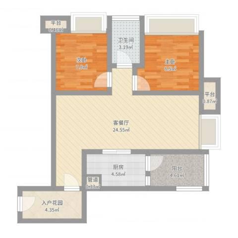 首创鸿恩国际生活区三期2室2厅1卫1厨74.00㎡户型图