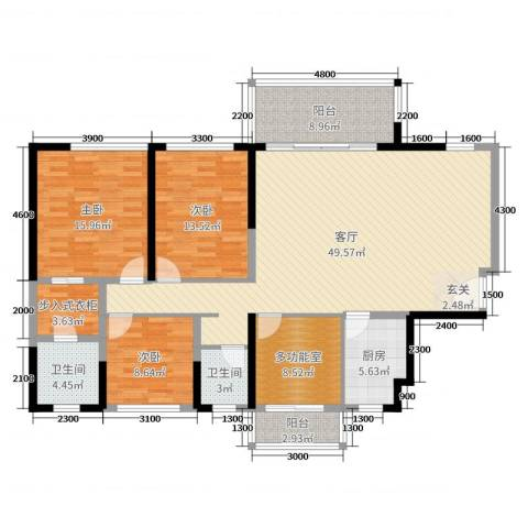 天峦湖3室1厅2卫1厨130.00㎡户型图