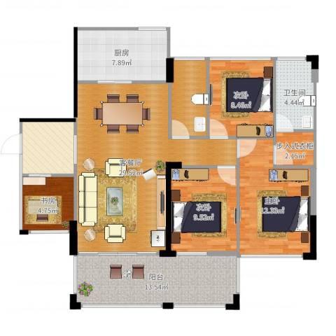 新怡・豪门4室2厅1卫1厨127.00㎡户型图