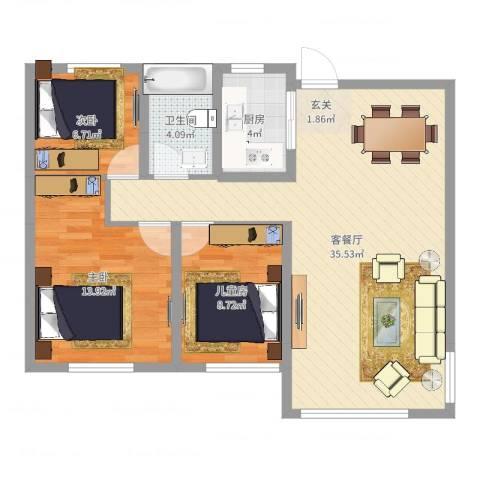 力高阳光海岸3室2厅1卫1厨91.00㎡户型图