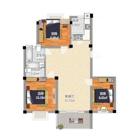 如意金水湾3室2厅2卫1厨111.00㎡户型图