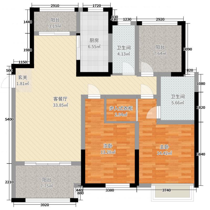 万骏金域丹堤124.00㎡14#16#标准层01户型3室3厅2卫1厨