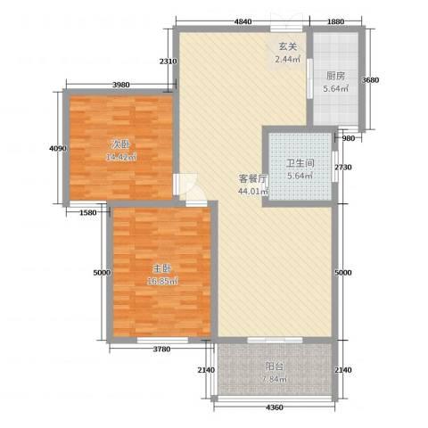 楚河花园2室2厅1卫1厨118.00㎡户型图