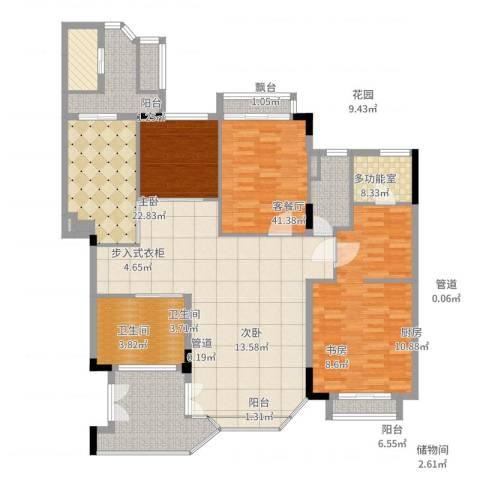 汇景新城柏菲美泉3室2厅2卫1厨169.00㎡户型图