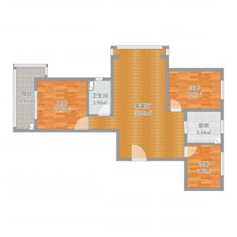 丽景华苑3室2厅1卫1厨105.00㎡户型图