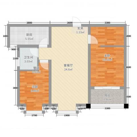 豪门又一城2室2厅1卫1厨89.00㎡户型图