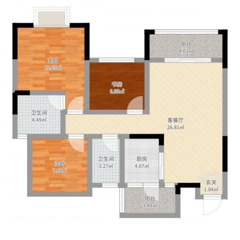 东邦城市花园3室2厅2卫1厨92.00㎡户型图