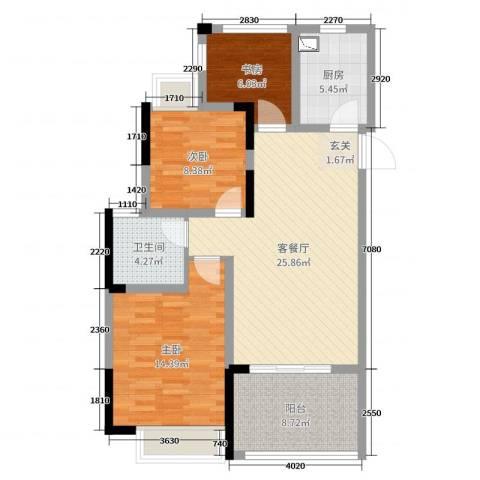 时代广场二期3室2厅1卫1厨92.00㎡户型图