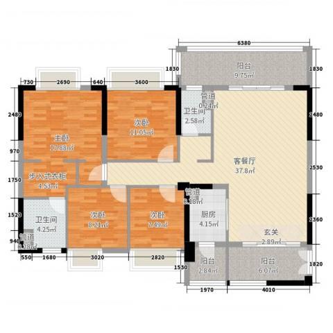 荔园悦享星醍4室2厅2卫1厨145.00㎡户型图