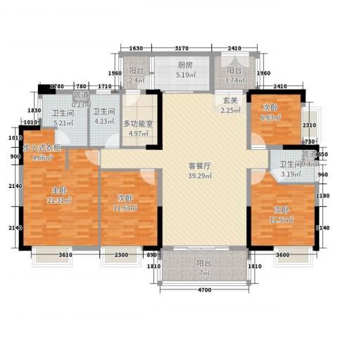 荔园悦享星醍4室2厅3卫1厨166.00㎡户型图