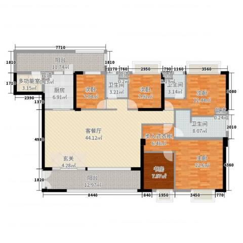 荔园悦享星醍5室2厅3卫1厨190.00㎡户型图