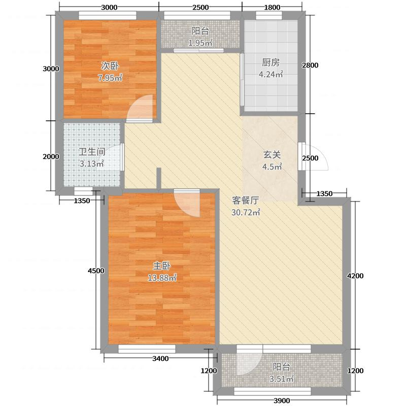 铭润将军第86.00㎡C座B户型2室2厅1卫1厨