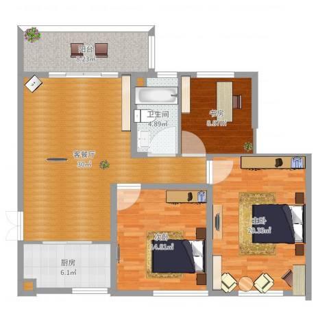 兴科明珠花园三期3室2厅3卫1厨117.00㎡户型图