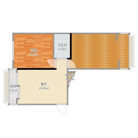 团结湖路小区1室1厅1卫1厨60.00㎡户型图