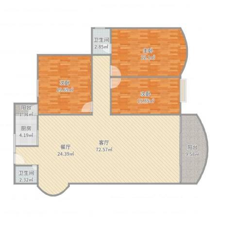 丽日玫瑰三区6座16023室1厅2卫1厨188.00㎡户型图