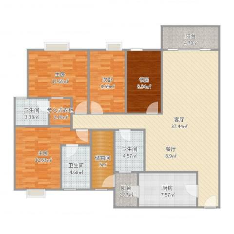 雍逸廷A区4室1厅3卫1厨142.00㎡户型图