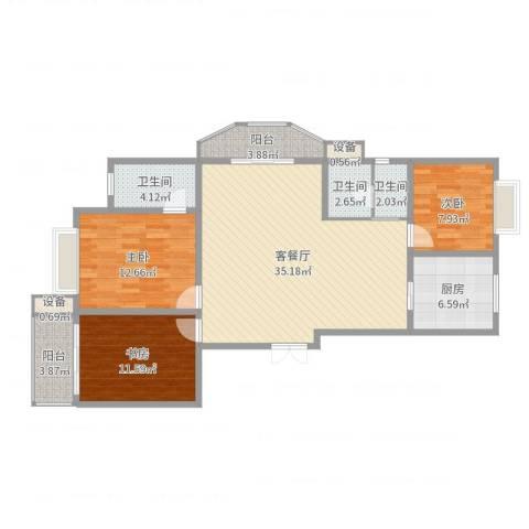 嘉禾花园3室2厅3卫1厨115.00㎡户型图