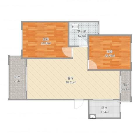 路通沁园2室1厅1卫1厨90.00㎡户型图