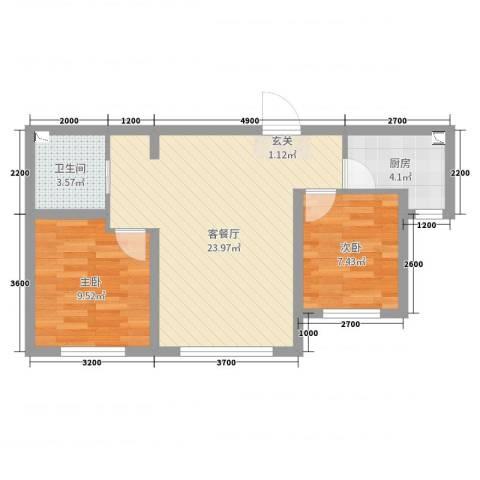 领秀蓝珀湖2室2厅1卫1厨48.58㎡户型图