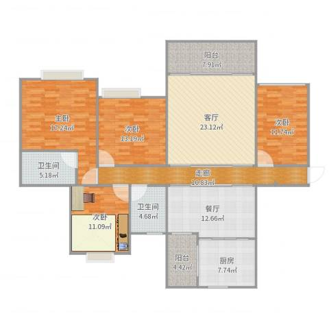 中海翠林兰溪园4室2厅2卫1厨162.00㎡户型图