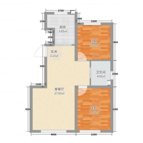 领秀蓝珀湖2室2厅1卫1厨59.11㎡户型图