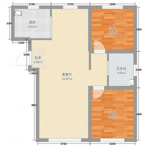 领秀蓝珀湖2室2厅1卫1厨60.10㎡户型图