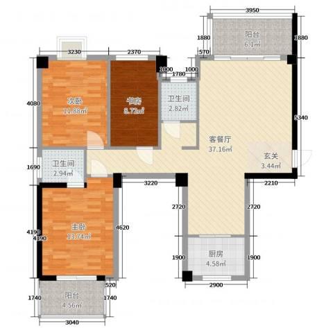 广隆海尚首府3室2厅2卫1厨129.00㎡户型图