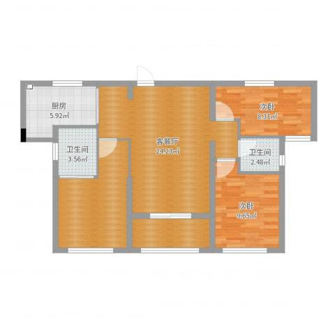 天海城市花园2室2厅2卫1厨87.00㎡户型图