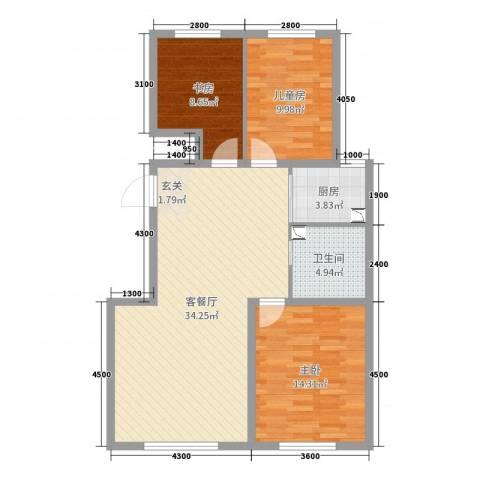 领秀蓝珀湖3室2厅1卫1厨106.00㎡户型图