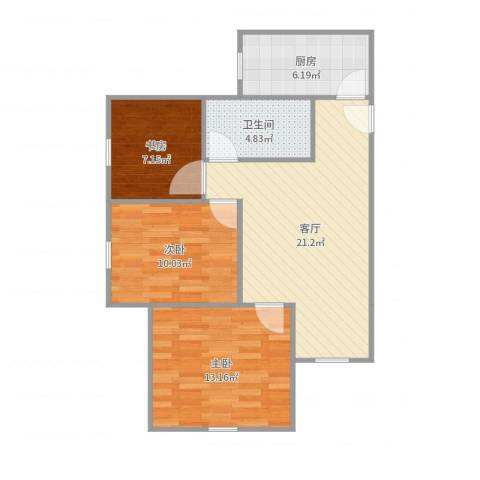 经发新北居3室1厅1卫1厨78.00㎡户型图