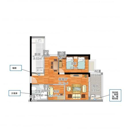 小北御景2室2厅1卫1厨78.00㎡户型图