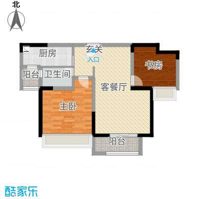 东宝康园81.00㎡高层G9户型2室2厅1卫1厨