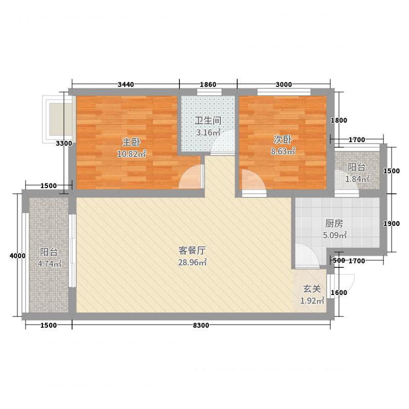 盛世天彭79.35㎡一期一批次8、10、11栋标准层C户型2室2厅1卫1厨