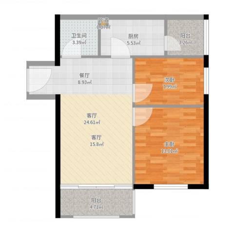 宁乡蓝色港湾2室1厅1卫1厨78.00㎡户型图