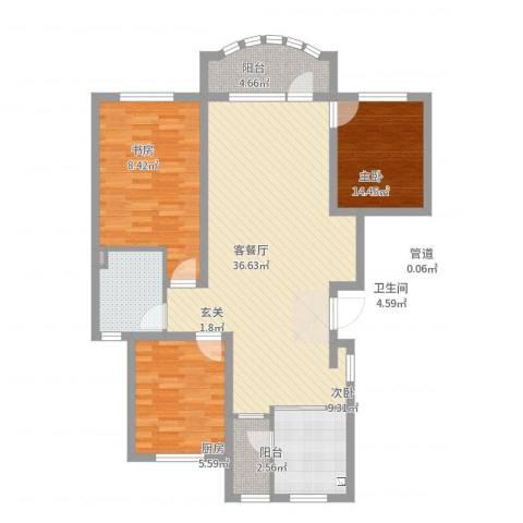 昌宇星河湾3室2厅1卫1厨108.00㎡户型图