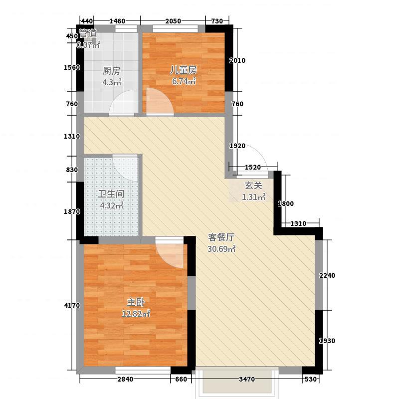 保利金香槟88.00㎡B区G1户型2室2厅1卫1厨