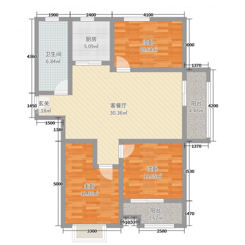 三发尚河名郡125.00㎡一期15-21#楼标准层F户型3室3厅1卫1厨