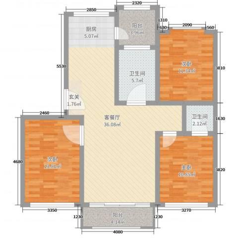 欧美世纪花园3室2厅2卫0厨110.00㎡户型图