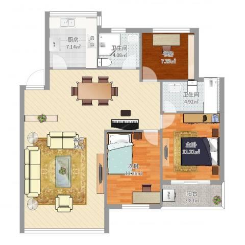 海怡花园3室1厅2卫1厨118.00㎡户型图