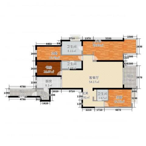 万科大明宫4室2厅3卫1厨197.00㎡户型图