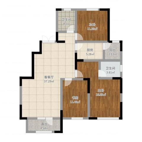 昆玉府3室2厅2卫1厨125.00㎡户型图