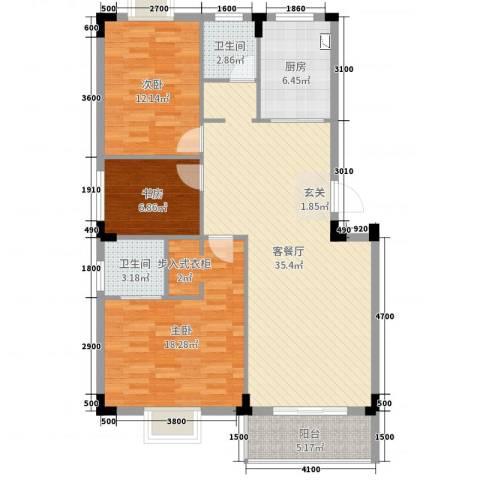 凤华名邸3室2厅2卫1厨94.00㎡户型图
