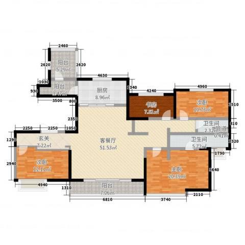 万科大明宫4室2厅2卫1厨166.00㎡户型图