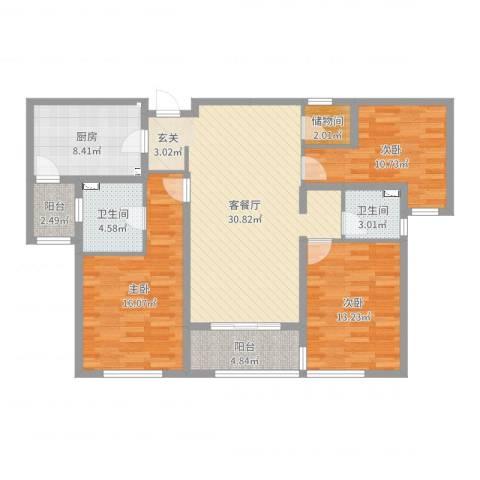 万科・金域东郡3室2厅2卫1厨120.00㎡户型图