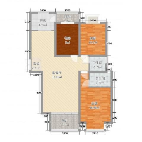 信达丽城二期3室2厅2卫1厨124.00㎡户型图
